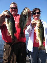 Couple fishing with Eddie Bussard on the St Johns River System