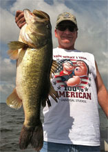 Client with a female largemouth weighing in over 10 lbs
