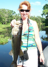 Yvonne Cicero with her trophy bass for the St Johns River